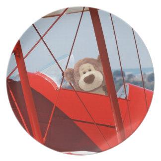 Placa experimental del oso de peluche platos para fiestas