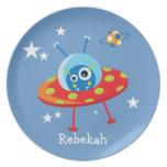 Placa extranjera de la nave espacial plato para fiesta