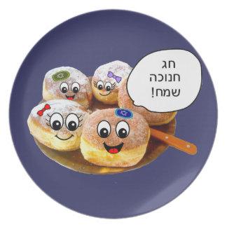 Placa feliz de Chanukah de los anillos de espuma e Plato Para Fiesta
