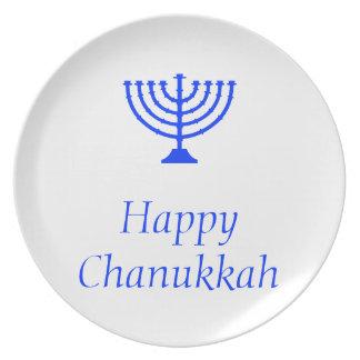 Placa feliz de Chanukkah/de Jánuca Plato De Comida