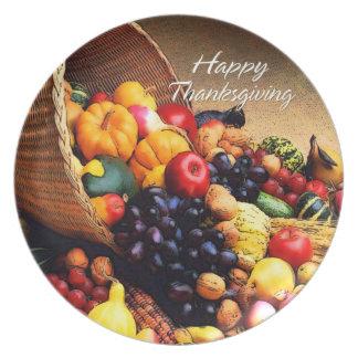 Placa feliz de la acción de gracias 12 platos