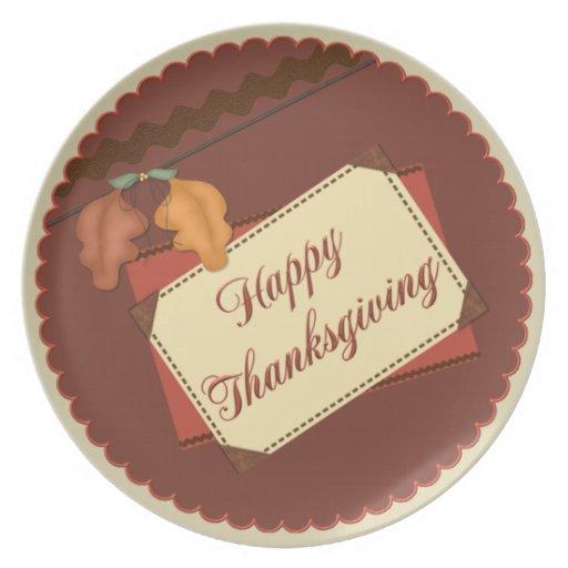 Placa feliz de la acción de gracias plato de comida