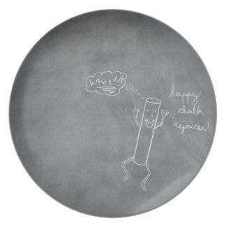 Placa feliz de la tiza plato