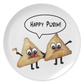 Placa feliz de Purim Hamantashen - blanco Platos