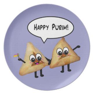 Placa feliz de Purim Hamantashen - púrpura Platos Para Fiestas