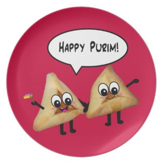 Placa feliz de Purim Hamantashen - rojo Plato