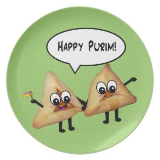 Placa feliz de Purim Hamantashen - verde Plato De Cena