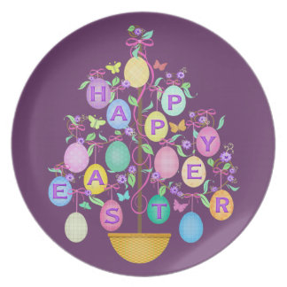 Placa feliz del árbol del huevo de Pascua Plato