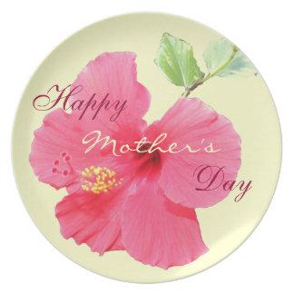 Placa feliz del día de madre plato para fiesta