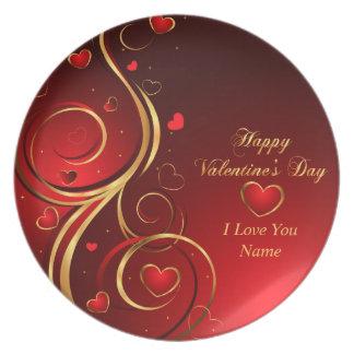 Placa feliz del el día de San Valentín 1 Plato