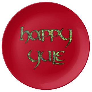 Placa feliz del fiesta de la porcelana de Yule Platos De Cerámica