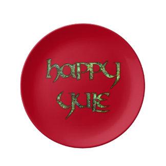 Placa feliz del fiesta de Yule de la porcelana Plato De Cerámica