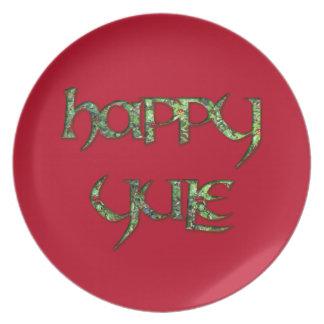 Placa feliz del fiesta de Yule de las bayas del Platos