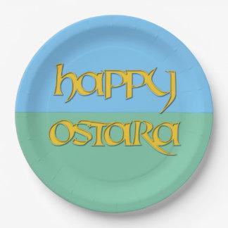 Placa feliz del fiesta del papel de Ostara Plato De Papel De 9 Pulgadas