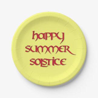 Placa feliz del fiesta del papel de solsticio de plato de papel de 7 pulgadas