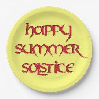 Placa feliz del fiesta del papel de solsticio de plato de papel de 9 pulgadas
