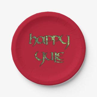 Placa feliz del fiesta del papel de Yule Plato De Papel De 7 Pulgadas