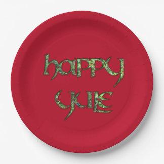Placa feliz del fiesta del papel de Yule Plato De Papel De 9 Pulgadas