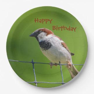 Placa feliz del pájaro de Birthdy Platos De Papel
