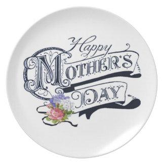 Placa feliz del personalizado del día de madre plato de cena