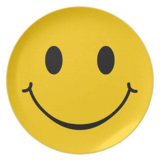 Placa feliz del smiley de la cara platos