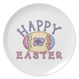 Placa feliz impresionante de Pascua con el huevo d Plato De Cena