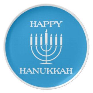 Placa feliz Menorah del Latke de Hanukah (azul) Platos De Comidas