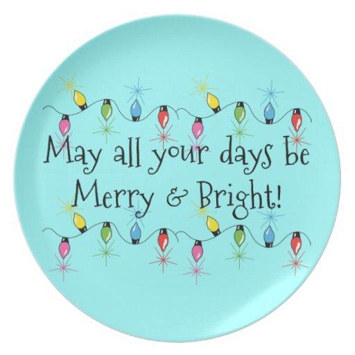 Placa feliz y brillante de las luces de navidad platos para fiestas