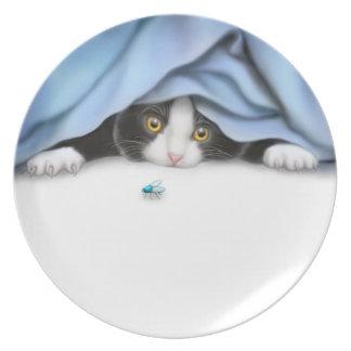 Placa feroz del gatito del cazador plato