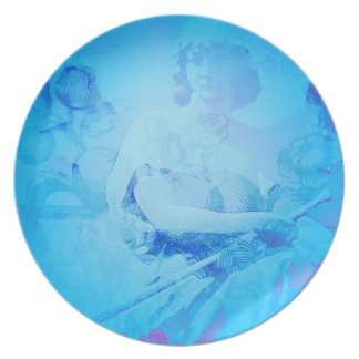 Placa floral azul del ángel plato