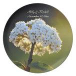 Placa floral blanca del recuerdo del boda platos para fiestas