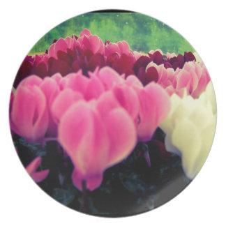 Placa floral bonita plato para fiesta