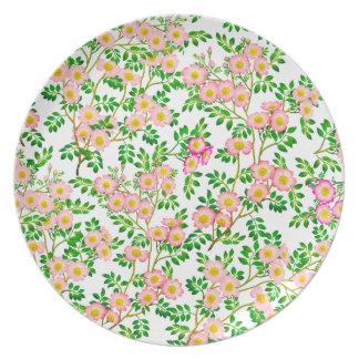 Placa floral color de rosa salvaje rosada plato