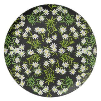 Placa floral de Edelweiss del suizo Plato De Comida