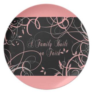 Placa floral de la familia de la fe plato de comida