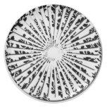Placa floral de la fan del vintage plato de comida