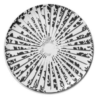 Placa floral de la fan del vintage plato para fiesta