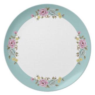 Placa floral de la frontera azul platos para fiestas