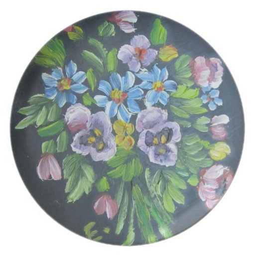 Placa floral de la pintura platos