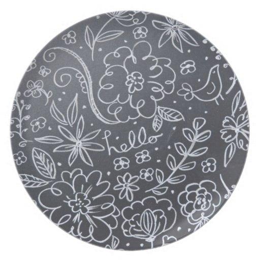Placa floral de la pizarra plato de cena