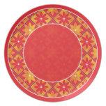 Placa floral decorativa roja de las tejas plato para fiesta