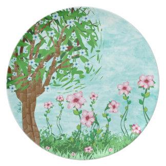 Placa floral del árbol plato de cena