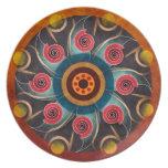 Placa floral del arte del vector del extracto del  platos de comidas