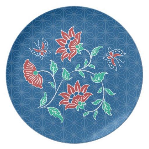 Placa floral del batik de Aiyana Plato De Comida