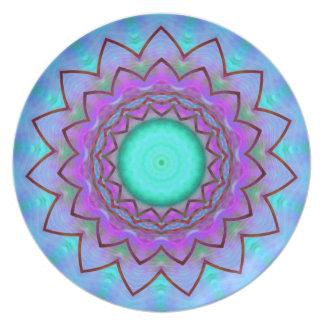 Placa floral del caleidoscopio de la estrella plato de cena