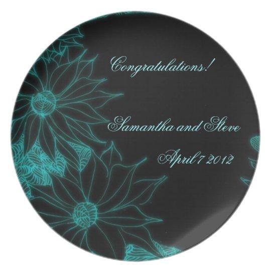 Placa floral del ensayo del boda de la aguamarina platos para fiestas