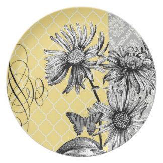 Placa floral gráfica del vintage moderno platos para fiestas
