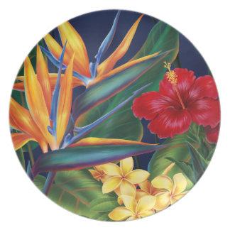 Placa floral hawaiana de la melamina del paraíso t plato de comida