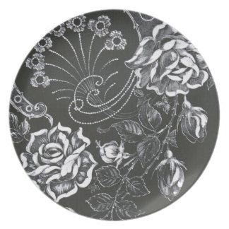 Placa floral negra de Nouveau… Plato Para Fiesta
