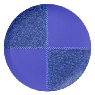 Placa floral retra del remiendo del azul real plato de comida